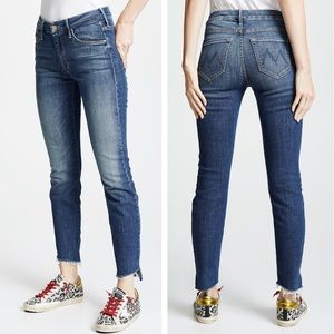 MOTHER The Looker Ankle Step Fray Jeans Here Kitty